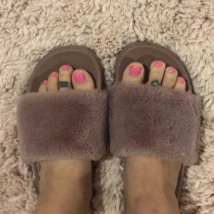 Shoes - Mauve fur slides